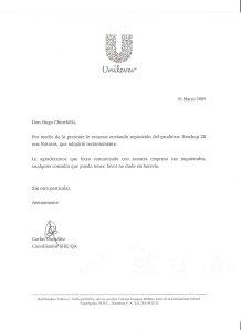 Carta de Unilever a Hugo Chinchilla Hurst